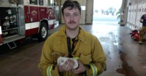 One-Week-Old Puppy Trapped Under Burning Bush Is Rescued