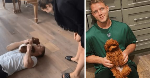 NFL Star Christian McCaffrey Gleefully Reunites With His Dog