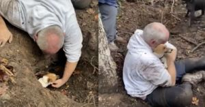 Man Digs His Trapped Dog Out Of A Hole With His Bare Hands